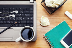 Coffee cup, notebook,headphones,  mobile smartphone and  laptop Stock Images