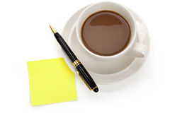 Coffee cup and notes royalty free stock photos