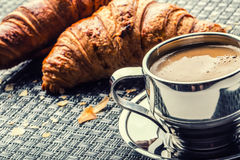 Free Coffee. Cup Of Coffee. Stainless Steel Cup Of Coffee And Two Croissants. Coffee Break Business Break Stock Photo - 61345250