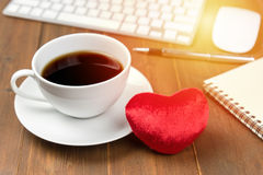 Coffee cup and with office gadgets Stock Photo