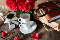 Coffee cup old book flower Royalty Free Stock Photo