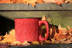 Coffee cup on old wood steps with Fall leaves Royalty Free Stock Photos