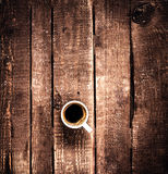 Coffee cup on old wooden background top view. Coffee Espresso. C Stock Images