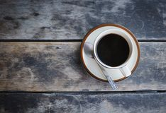Coffee cup on old wooden table. Stock Images