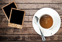 Coffee Cup On Wood Texture. Stock Images