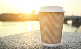 Coffee cup. One coffee cup in the city Royalty Free Stock Photography