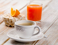 Coffee cup and orange juice Stock Photo