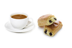 Coffee cup and pain au chocolat. Coffee cup with drink and pain au chocolat Royalty Free Stock Image