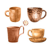 Coffee cup painted set. Coffee cup painted with watercolors on white background. Set of coffee, tea cups  in vintage retro style. Coffee watercolor collection Royalty Free Stock Photography