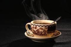 Coffee cup pairs a smoke. Sprightliness, cheerfulness, coffee-beans, tea-party, breakfast, cappucino Stock Photos