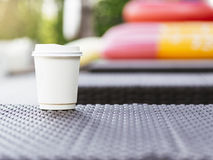 Coffee Cup Paper Blurred Outdoor Summer holiday Backgound Royalty Free Stock Images