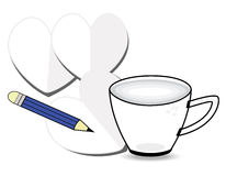 Coffee cup. With paper and pencil on white background Royalty Free Stock Image