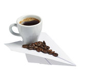 Coffee cup on a paper plane Royalty Free Stock Photography