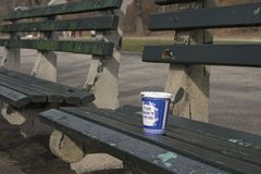 Coffee cup at the park. A blue coffee cup on a park bench royalty free stock photos