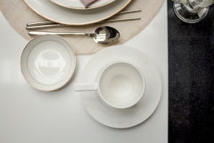Coffee cup on part  table dining Royalty Free Stock Image