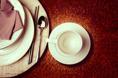 Coffee cup on part  table dining Royalty Free Stock Images