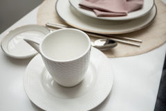 Coffee cup on part  table dining Stock Image