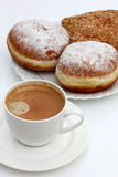 Coffee cup and pastry stock photography