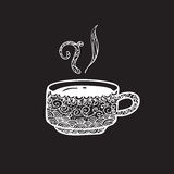Coffee cup pattern doodle shalk Stock Images