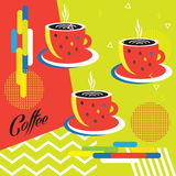 Coffee cup pattern. Coffee cup logo poster. Art modern background, logo, menu, concept Illustration template Advertising design Futuristic banner, wallpaper Royalty Free Stock Photos