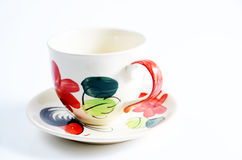 Coffee cup with pattern. Coffee cup with stripes on the market Royalty Free Stock Photography