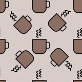 Coffee cup pattern vector black seamless monochrome for fabric drawing drink illustration Stock Image