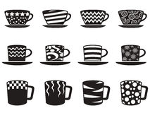 Coffee cup with patterns icons set Stock Photos