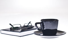 Coffee cup pen and agenda Royalty Free Stock Images