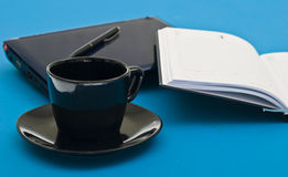 Coffee cup, pen, agenda and notebook Royalty Free Stock Image