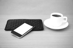 Coffee cup and phone and wallet Stock Photos