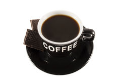 Coffee cup and a piece of chocolate Royalty Free Stock Images
