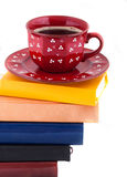 Coffee Cup on Pile of books royalty free stock images