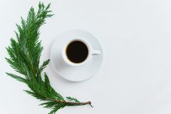 Top view of coffee cup and pine brunch on white background with space for text. Minnimal, seasonal coffee time concept. Coffee cup and pine brunch on white Royalty Free Stock Images