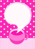 Coffee cup pink invitation card Royalty Free Stock Photo