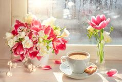 Coffee cup, pink tulips and white freesia - on the window board, springtime background stock photos