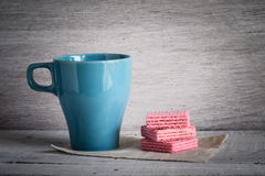 Coffee Cup and Pink waffles Royalty Free Stock Photography