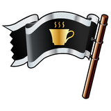 Coffee cup on pirate flag Stock Images