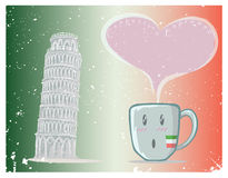 Coffee cup and Pisa tower vector Royalty Free Stock Images