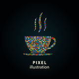Coffee cup - pixel illustration. Coffee cup - pixel icon. Vector Illustration. Design logo element. Isolated on black background. It is easy to change to any Stock Illustration