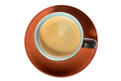 Coffee cup plan view. Plan view of coffee cup and plate isolated on white Royalty Free Stock Images