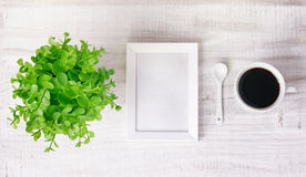 Coffee cup plant frame, advertisement concept. Stock Photos