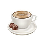 Coffee cup on plate and chocolate candy Royalty Free Stock Photo