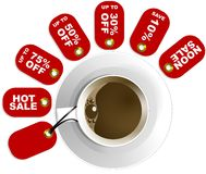 Coffee Cup on Plate with Price Tags. Red discount tags attached to the handle of a coffee cup on white background stock illustration
