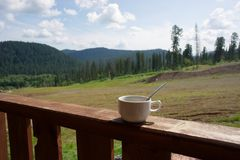 Coffee cup on the porch, amid the taiga summer landscape. Tea-break. Coffee cup on the background of the taiga landscape Royalty Free Stock Image