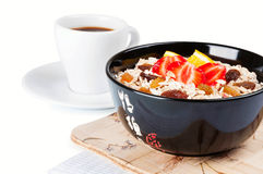 Coffee cup and porridge Royalty Free Stock Image