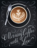 Coffee cup poster with lettering quote. Royalty Free Stock Photo