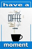 Coffee cup. Poster  with text on a messy dirty background Royalty Free Stock Photography