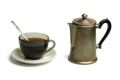 Coffee cup and pot. Isolated on white background Stock Photos