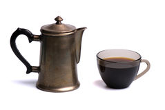 Coffee cup and pot. Isolated on white background Stock Images