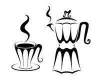 Coffee cup and pot Royalty Free Stock Photos
